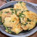 ツナ入り玉子かけご飯で作るチヂミ風焼き&「どん兵衛天ぷらそば(生そば仕立て)」