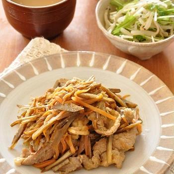 【1週間節約献立】ごはんがススム!ごぼうでボリュームアップ豚肉のカレー炒め定食