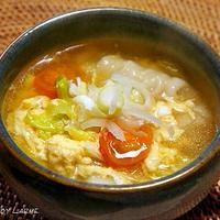 紀文のスープ餃子で簡単♪ トマトとレタスのスープ餃子