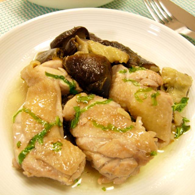 鶏肉と茄子の白ワイン煮バジル風味