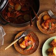 夏野菜とチキンのトマト煮込み献立♪