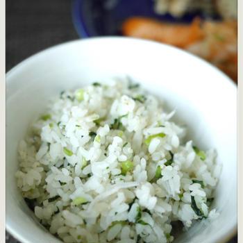 小松菜とシラスの混ぜご飯
