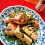 鶏肉とたけのこの青紫蘇炒め ~ 岩塩まぶし、そしてお好みで京七味❀