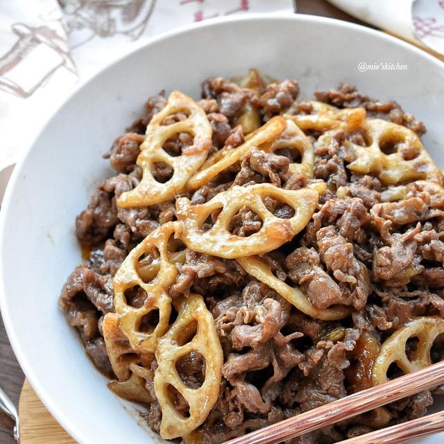 安い牛肉が柔らか♡男子の胃袋鷲掴み♡牛肉と蓮根のうまダレ炒め♡レシピあり♡