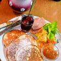 リコッタチーズのパンケーキ ❤ アップルペーストと  by mayumiたんさん