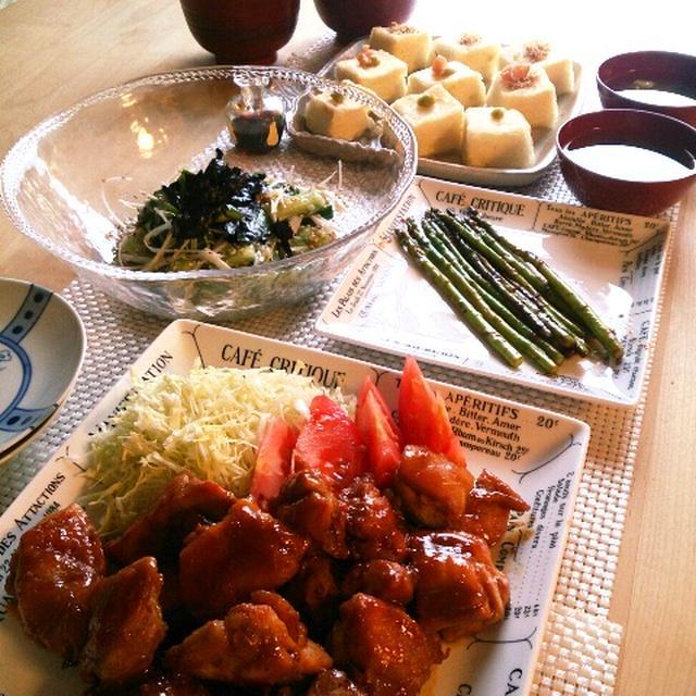 叩ききゅうりと白ネギのサラダと鶏生姜照り焼きの晩ごはん。