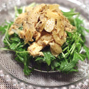 蒸し鶏とアーモンドのオニオンクリーミーマスタード