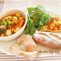 とろ実の彩り野菜カスレ風 de ワンプレート朝食。。。