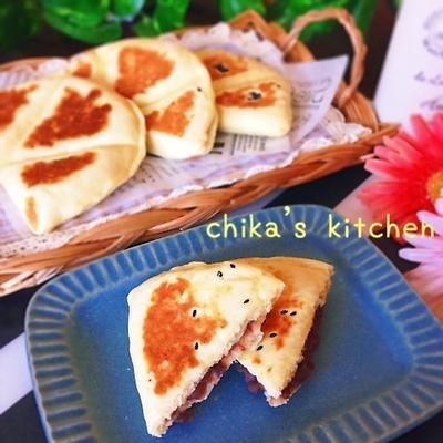 オススメ〜♡発酵1分♪ふかもち平焼きあんバターパン♡