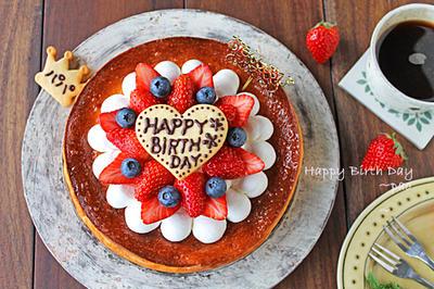 主人の誕生日ケーキ☆基本のベイクドチーズケーキ