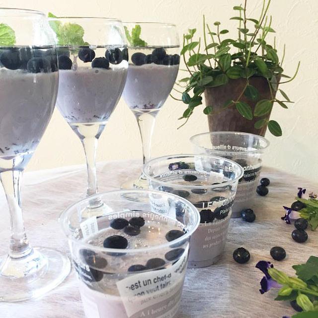 アガーで作る涼しげなブルーベリーの二層ミルクプリン~簡単 !!