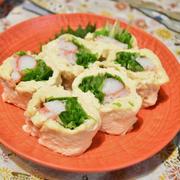 水菜とカニカマでその①。生湯葉巻き。簡単でヘルシーなおつまみ。
