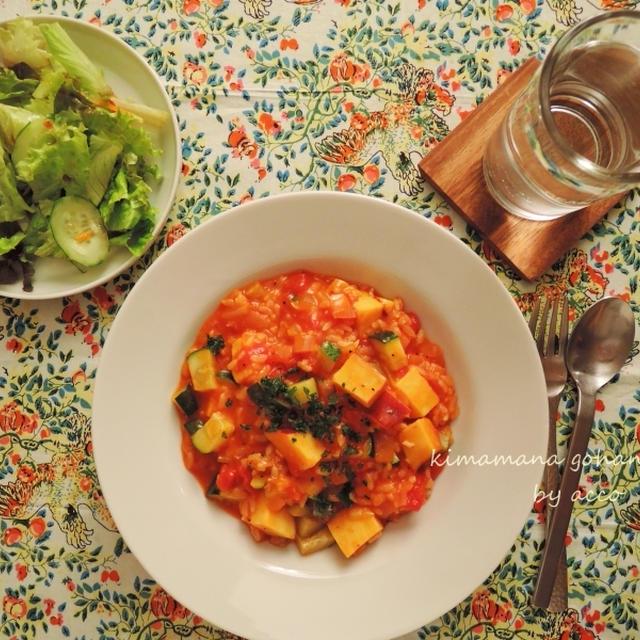 さつま芋とズッキーニのトマトリゾット。