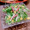 水菜とサラミのココナッツサラダ
