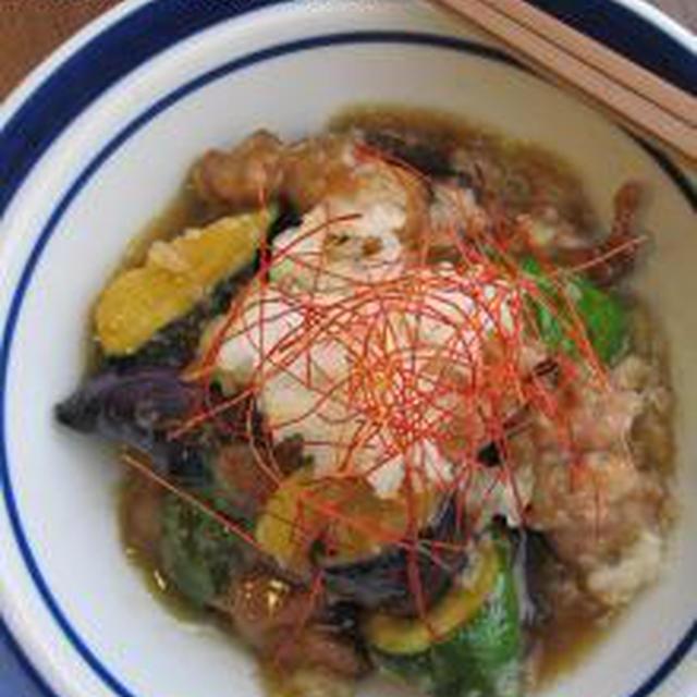 さっぱりでがっつり☆夏野菜と豚肉の揚げおろし煮。
