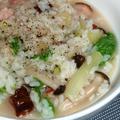 生米ど~んのベーコンと山東菜の香味シャンタンかゆ、とかとか