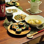 ご飯少なめでヘルシー!韓国風巻き寿司キンパで節分の晩ごはん(1日早め)