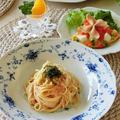 レシピ*たらこスパゲッティとかわいいはんぺんのオープンオムレツ ♪