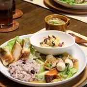 秋鮭とチーズの焼き春巻き と 八宝菜・プレート。