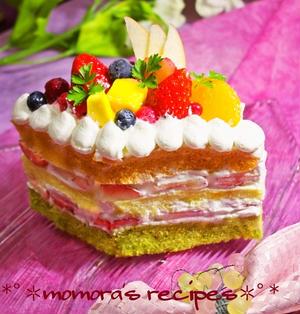 ホットケーキミックスHMとレンジで簡単♡野菜のひな祭りケーキ