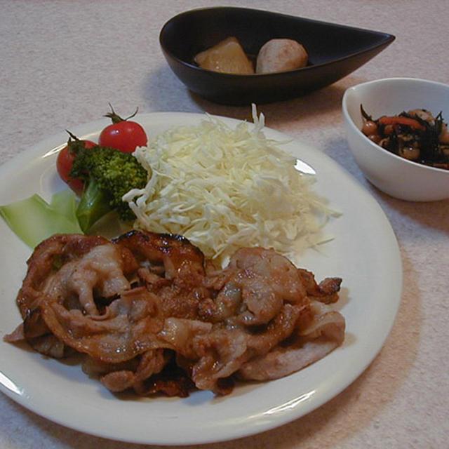 生姜焼きとひじき大豆の炒り煮