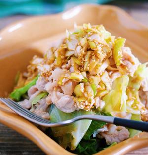 ワンボウルでラクラク♡抱えて食べたい♡『豚キャベツのレンジ蒸し〜コクうま♡ネギだく中華だれ〜』