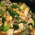 豚細切り肉と厚揚・小松菜のオイスターソース炒め