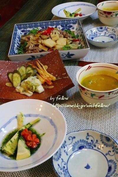 ◆最後の筍は生青のりと炊き合わせに炒め物でおうちごはん♪