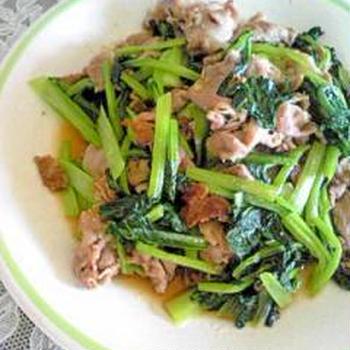 小松菜と豚肉のしょうが炒め