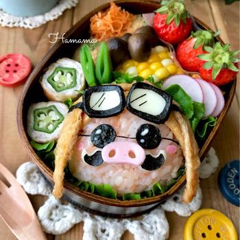 《キャラ弁》紅の豚からポルコ・ロッソの作り方♡イースターのお弁当