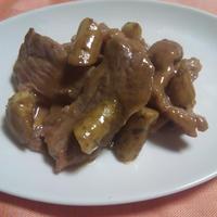 わさびソースの牛肉とごぼうの炒め物