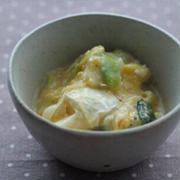 カマンベールとねぎのおつまみ卵とじ
