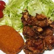 焼肉のタレで鶏の唐揚げとコロッケ