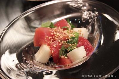 50度洗い&蔵の素を使って、鮪と長芋のワサビ醤油和え。