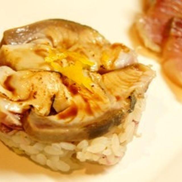竹鶴セルクルで、昆布〆鰤の炙り寿司、柿と聖護院蕪の柚子なます、聖護院蕪の餡かけ