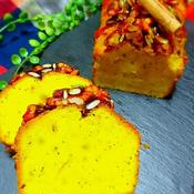 シナモン香るカボチャのパウンドケーキ カラメルナッツのせ