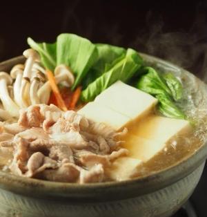 豚こま肉とチンゲンサイの麺つゆ鍋