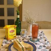 休日ブランチ♪「トーストサンド、ブランデー紅茶ソーダを添えて」