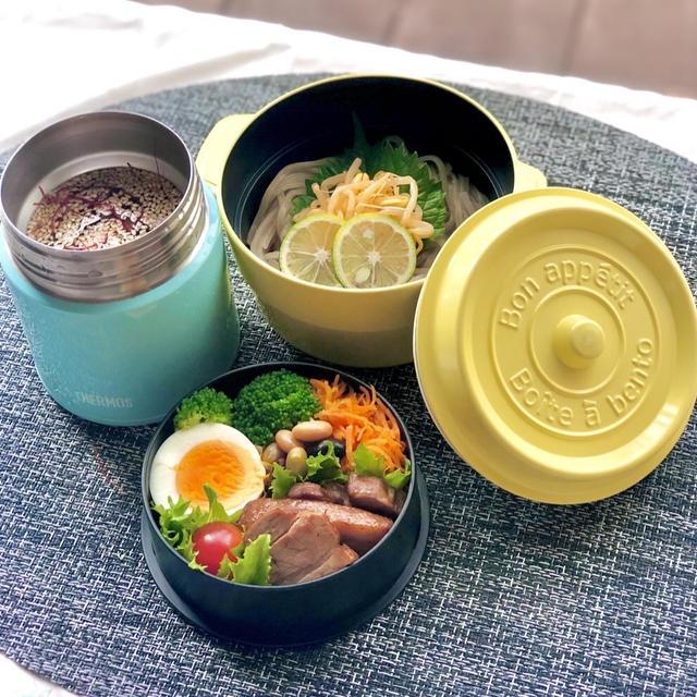 初挑戦!スープジャーで韓国風冷麺弁当!市販品だけど。。。