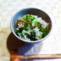 伯方の塩 焼塩で 小松菜飯