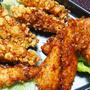 くらしのアンテナ掲載♪ カリカリ衣の鶏ささみおかき揚げ♪湿気ったおかきの処理 カレー風味です! ついでにおかか揚げ♪