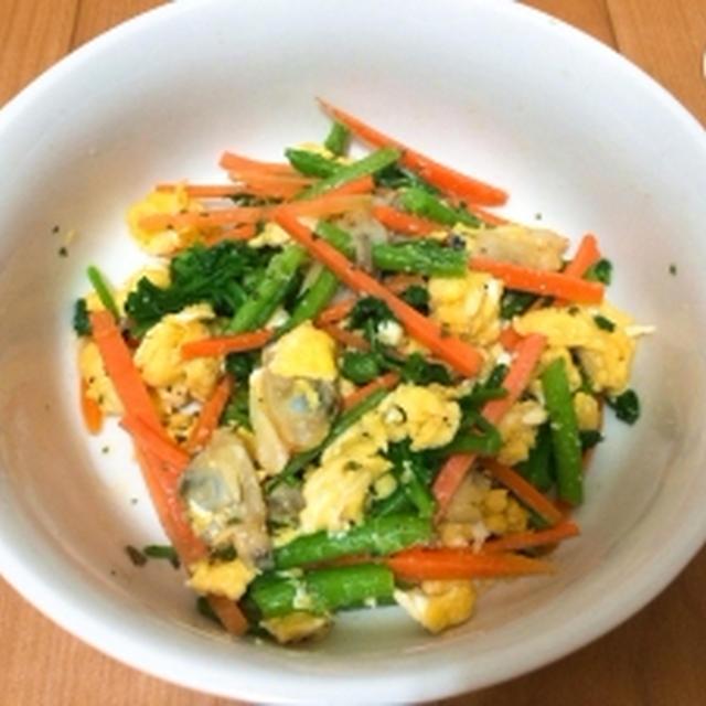 【ヘルシー】クレソンとアサリと卵の洋風サラダ