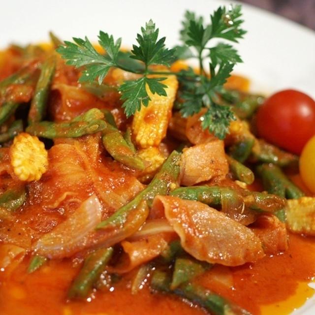【イタリア料理 インゲン・ベビーコーン・生ハムの トマトソース和え】つくれぼです^^