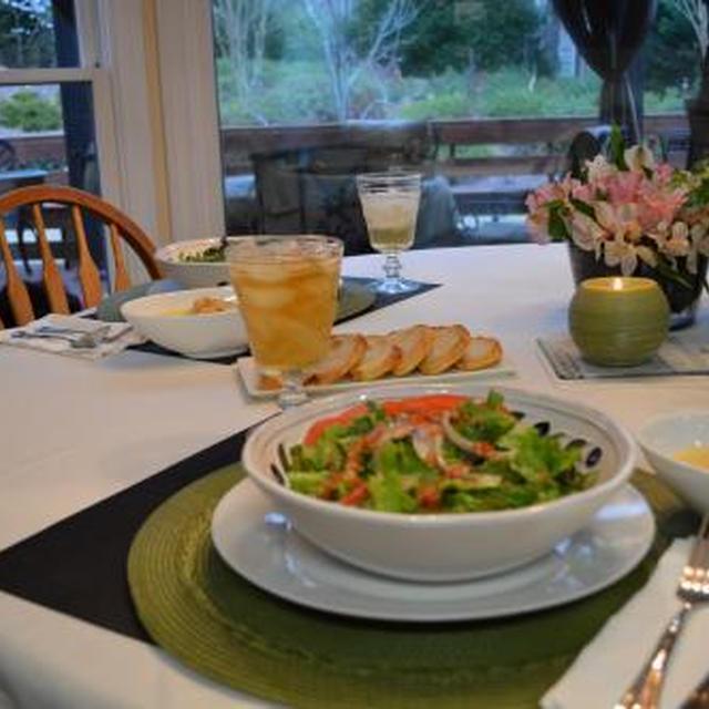 ポレンタスープとサラダでディナー