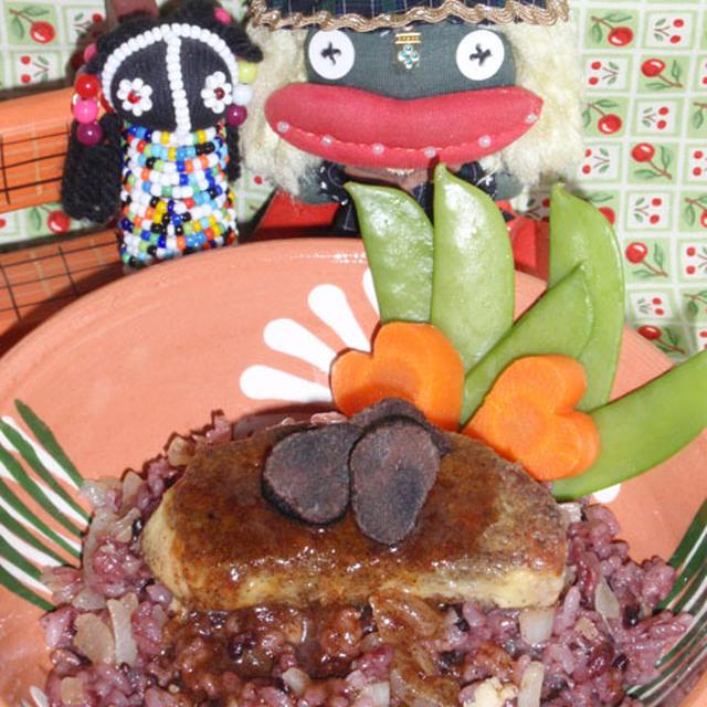 ロッシーニ風フォアグラのチーズ丼&新玉ネギとオイルサーディンの柚子コショウサラダ(お家カフェ)