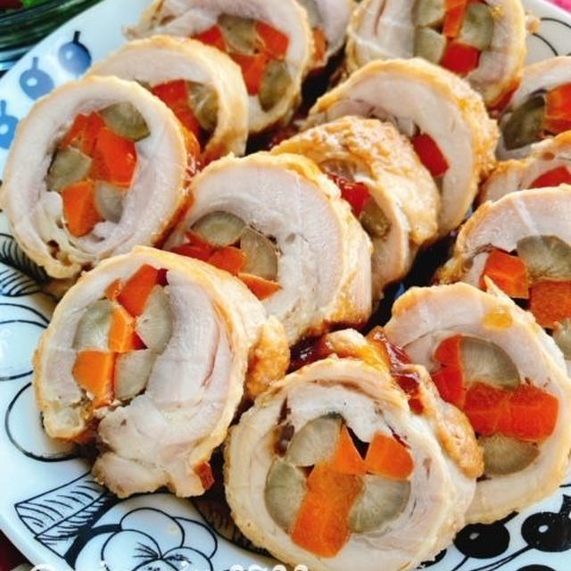 鶏もも肉の八幡巻き(動画レシピ)/Chicken roll with Burdock and Carrot.