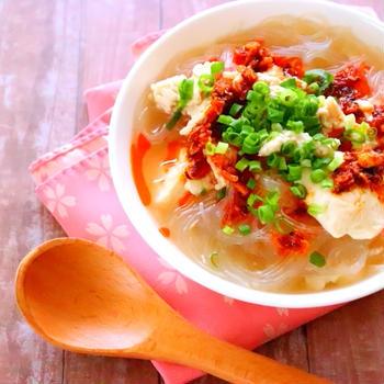【ダイエットにおすすめ!包丁なしで作る簡単スープ】春雨のピリ辛スープの作り方レシピ[料理動画]