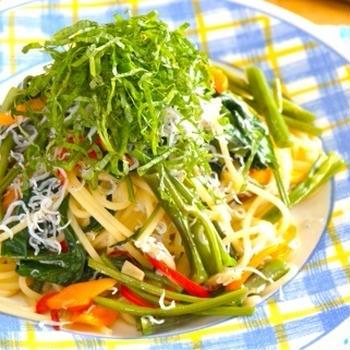 空芯菜としらすのスパゲッティ