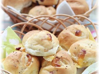 >一度に2種類出来ちゃう マスタードチーズパン&クランベリーシナモンパン。 by YOMEさん