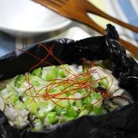 牡蠣のネギバター黒ホイル焼き